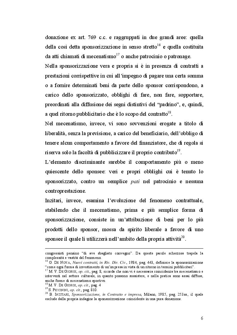 Estratto dalla tesi: I contratti di sponsorizzazione tra esigenze di mercato e tutela della persona