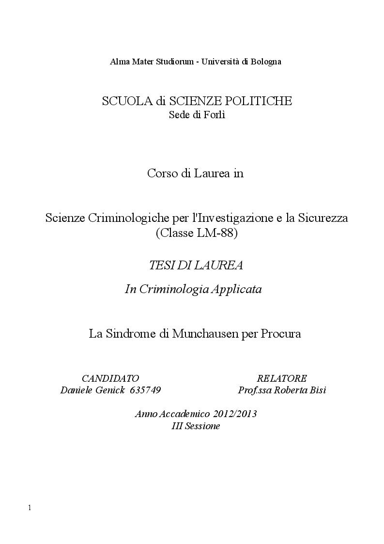Anteprima tesi laurea liv ii specialistica la for Sindrome di munchausen per procura