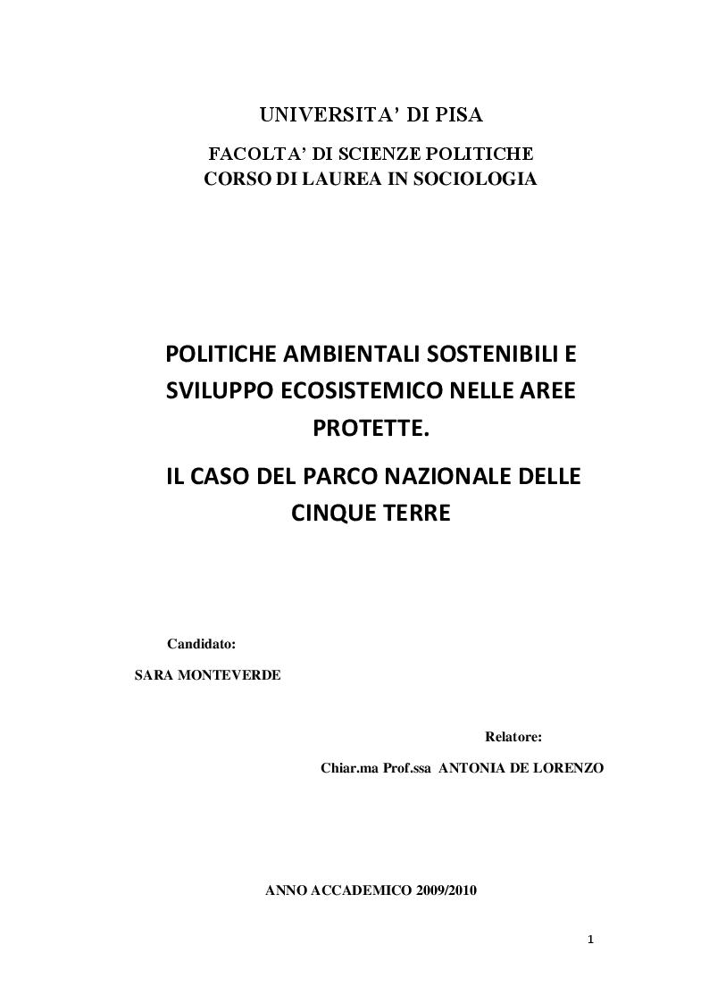 Anteprima della tesi: Politiche ambientali sostenibili e sviluppo ecosistemico nelle aree protette. Il caso del Parco Nazionale delle Cinque Terre, Pagina 1