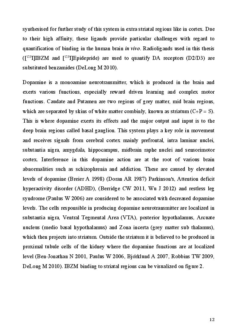 Anteprima della tesi: Comparison of [123I]Epidepride & [123I]IBZM SPECT tracers for Brain Dopamine D2 Receptor Imaging using Micro SPECT, Pagina 6