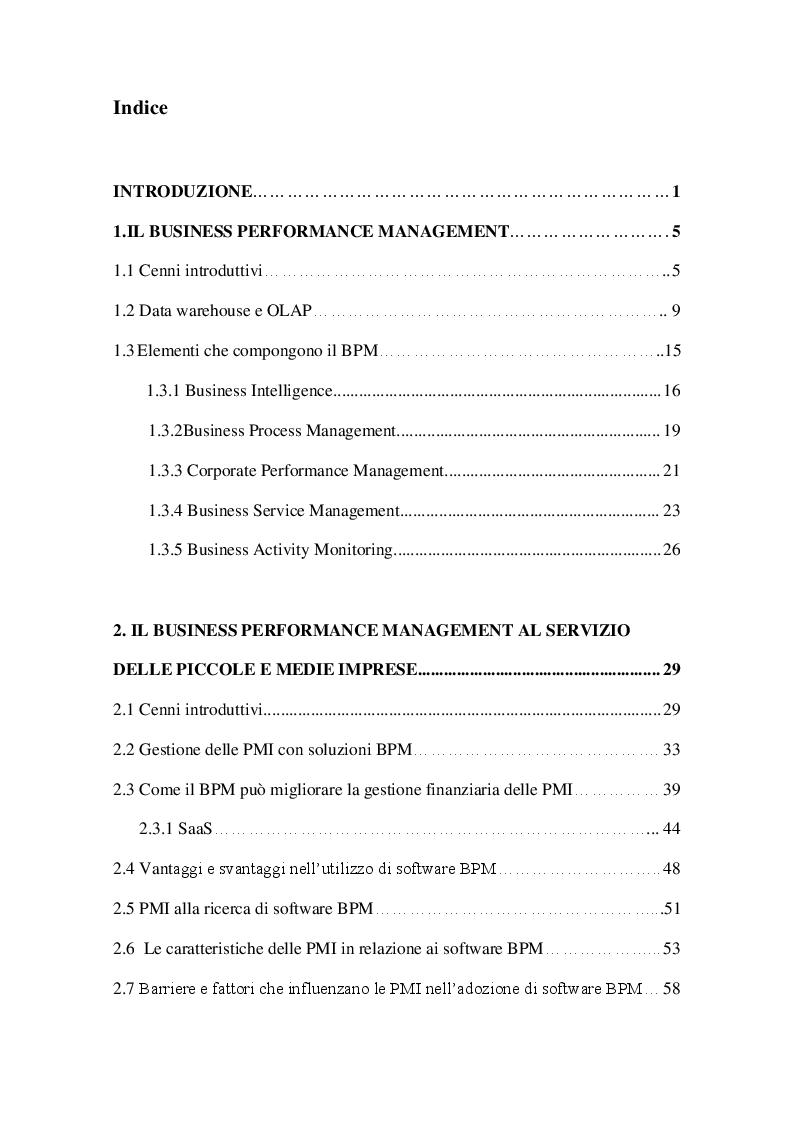 Indice della tesi: Strumenti di Business Performance Management: le offerte per le piccole e medie imprese sul mercato europeo, Pagina 1