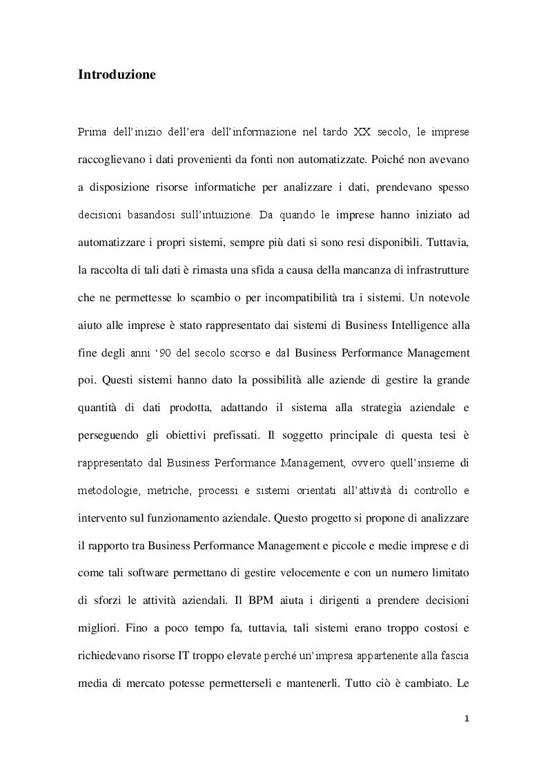 Anteprima della tesi: Strumenti di Business Performance Management: le offerte per le piccole e medie imprese sul mercato europeo, Pagina 2