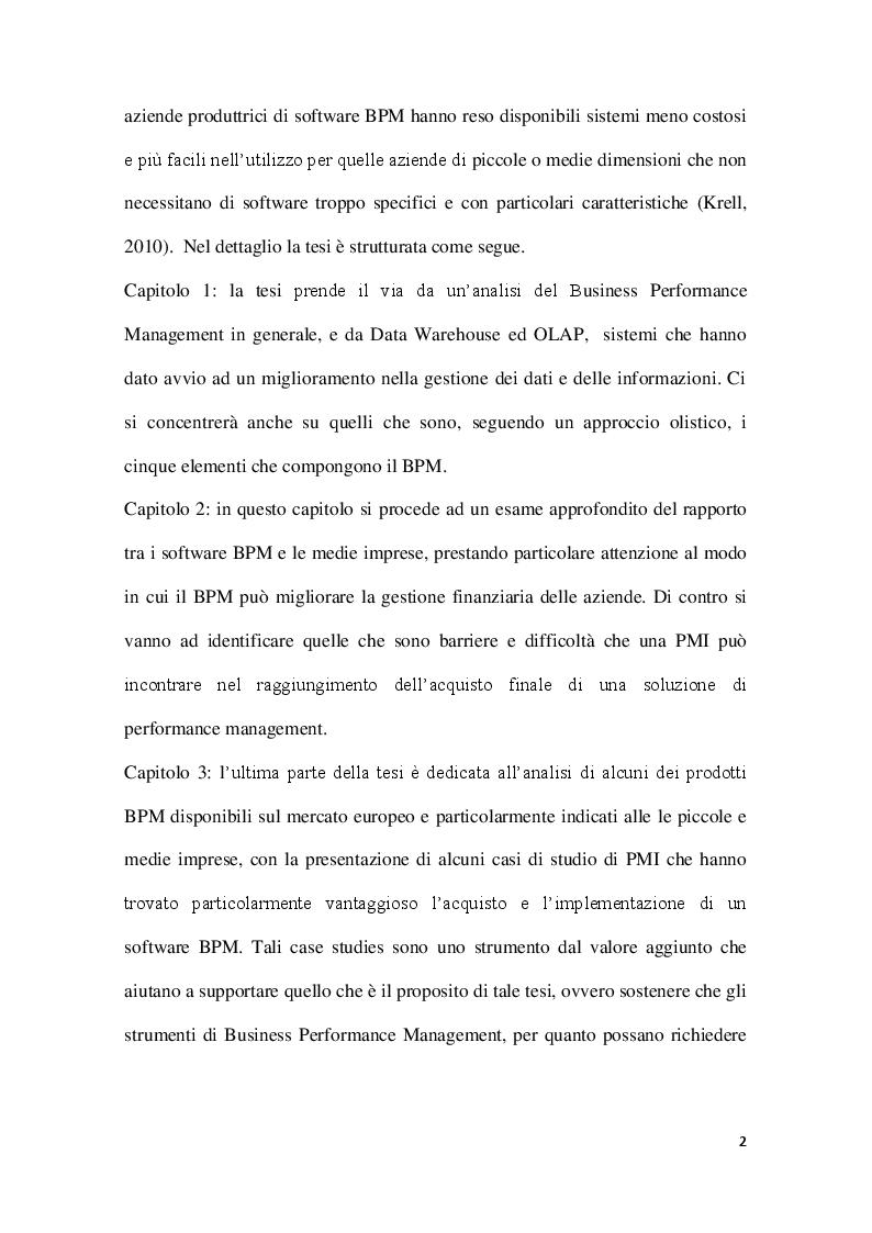 Anteprima della tesi: Strumenti di Business Performance Management: le offerte per le piccole e medie imprese sul mercato europeo, Pagina 3
