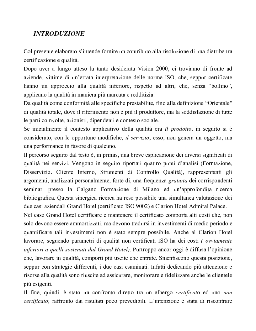 Certificazione e qualit� a confronto: i due casi azendali Grand Hotel e Choice Hotel Admiral Palace - Tesi di Laurea