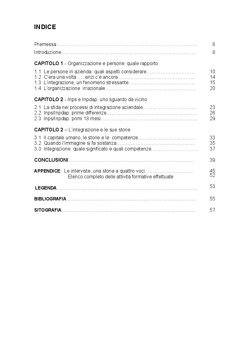 Indice della tesi: Le competenze possibili nei processi di integrazione aziendale. Inps-Inpdap: un caso di storytelling, Pagina 1