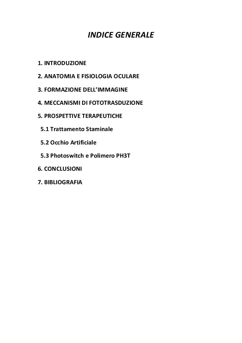 Indice della tesi: Prospettive terapeutiche per il trattamento delle patologie neurodegenerative della retina, Pagina 1