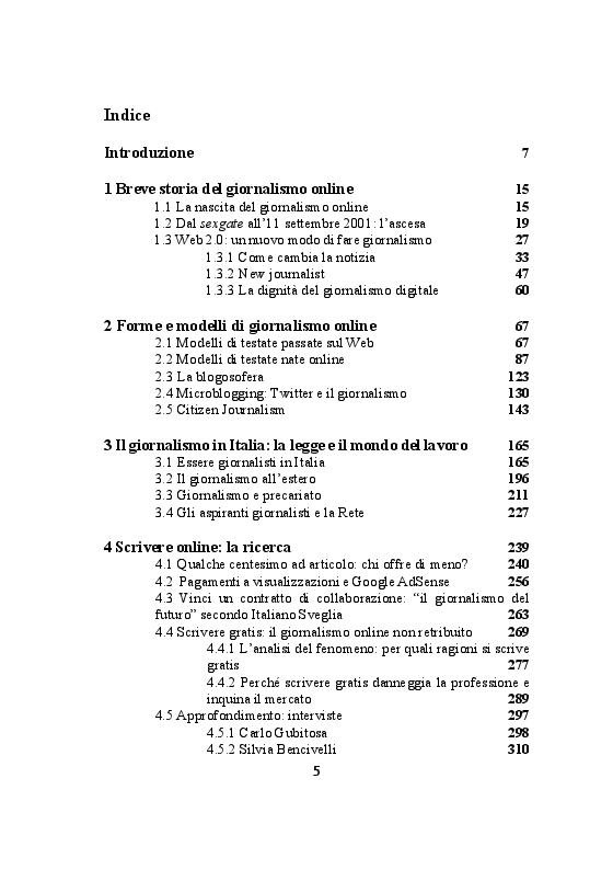 Indice della tesi: Giornalismo online: dalla retribuzione alla visibilità, Pagina 1