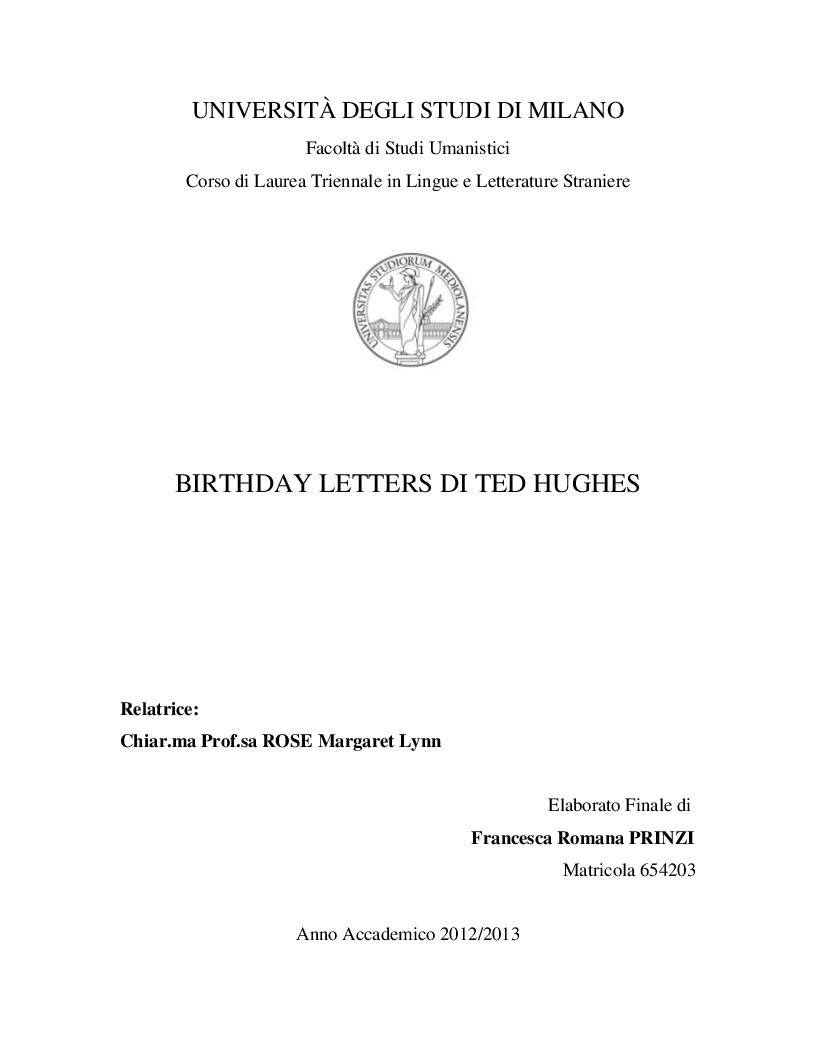 Anteprima della tesi: Birthday letters di Ted Hughes, Pagina 1