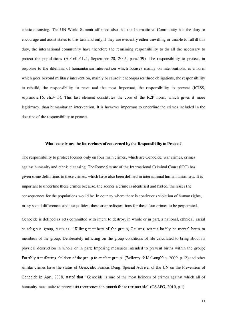 Estratto dalla tesi: The Responsibility to Protect: Focus on the Responsibility to Prevent and the role of Regional and Civil Society Organizations
