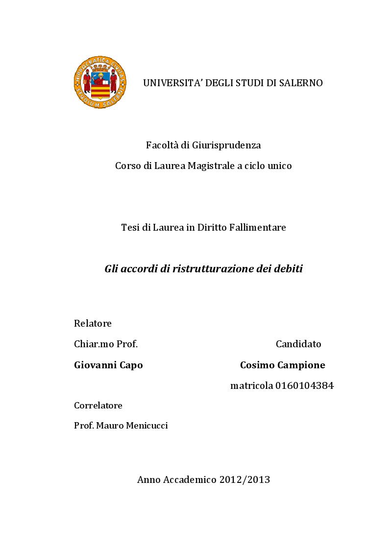 Anteprima della tesi: Gli accordi di ristrutturazione dei debiti, Pagina 1