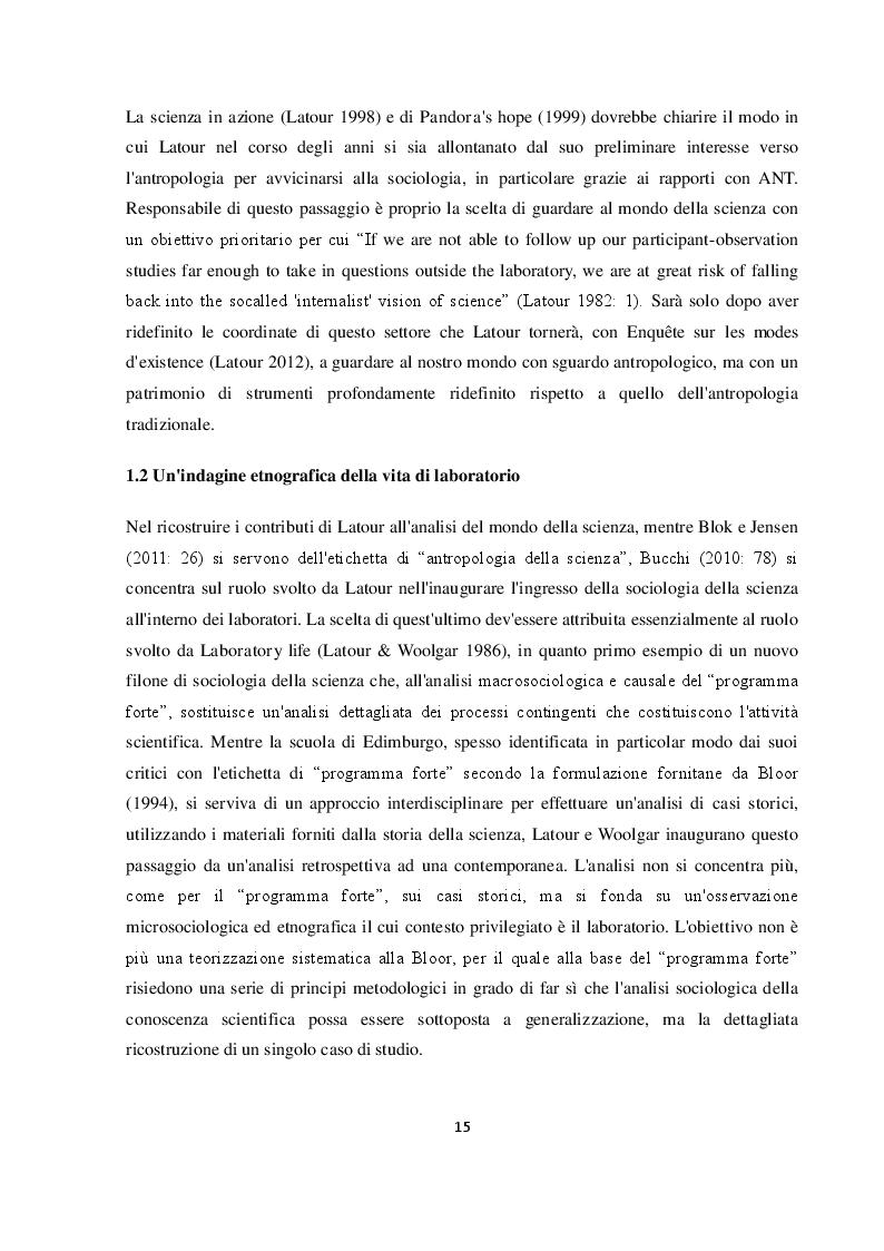 Estratto dalla tesi: Bruno Latour: dalla sociologia della scienza all'antropologia dei moderni. Una proposta interpretativa.