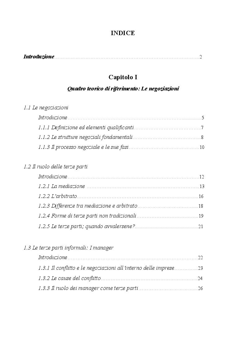 Indice della tesi: La personalità del negoziatore di successo: evidenze dall'accordo Microsoft - Nokia, Pagina 1