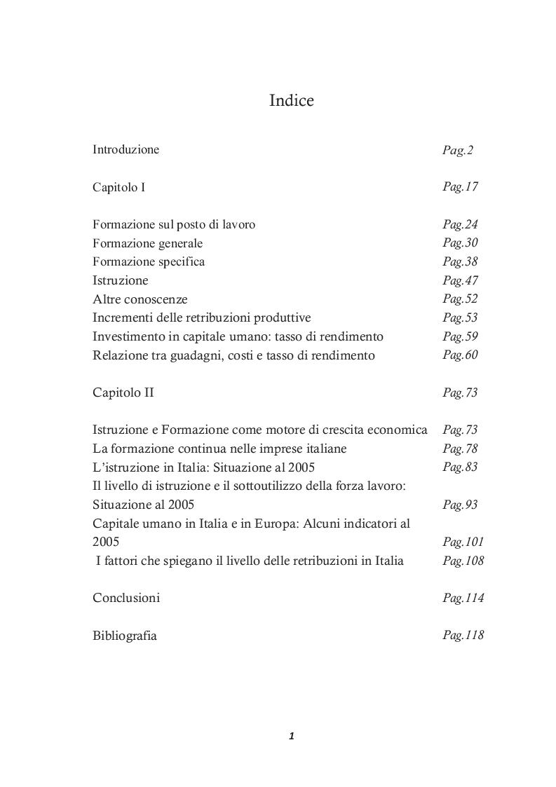 Indice della tesi: Scelte di istruzione degli individui, Pagina 1