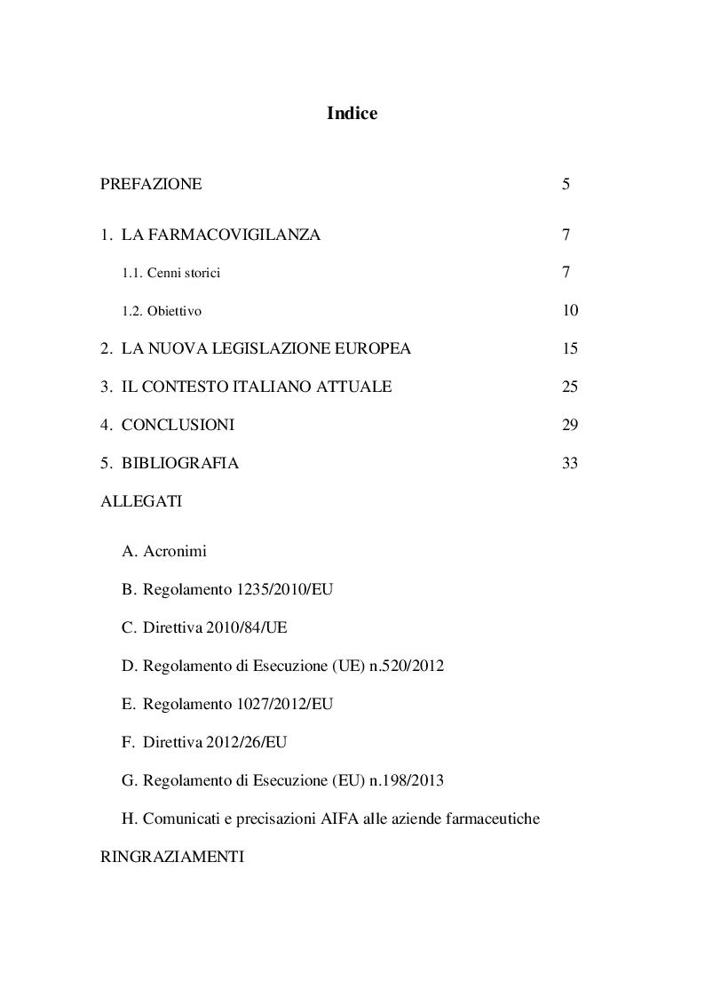 Indice della tesi: La Nuova legislazione europea in materia di farmacovigilanza. Cosa cambia per l'industria farmaceutica, Pagina 1
