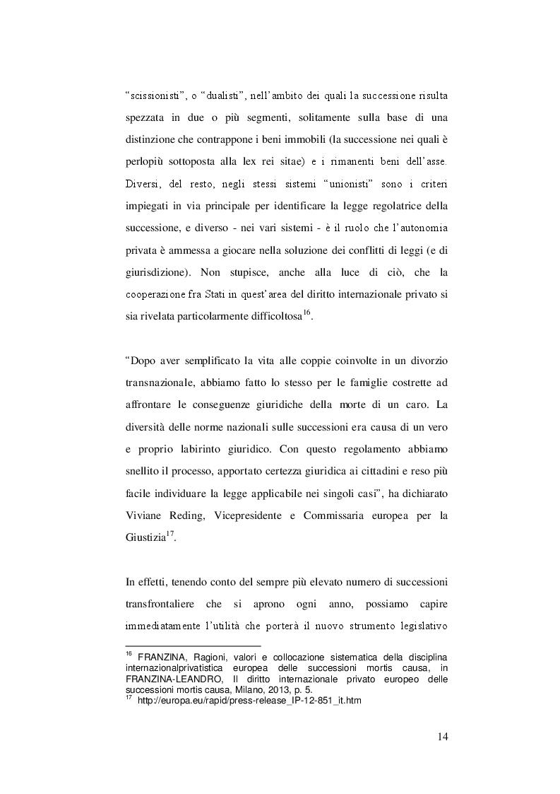 Estratto dalla tesi: Conflitti di giurisdizione e riconoscimento di sentenze nelle successioni internazionali