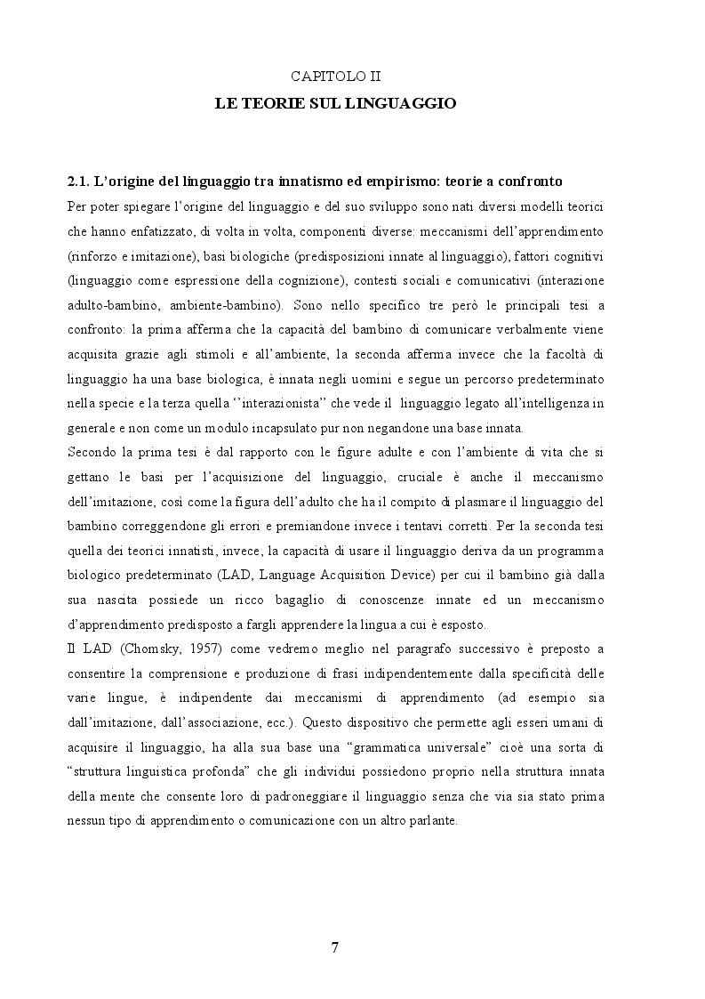Estratto dalla tesi: Linguaggio e memoria nei bambini con sindrome di Down