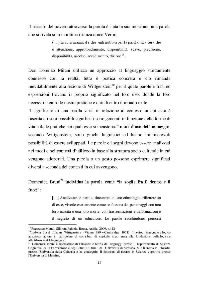 Estratto dalla tesi: Don Lorenzo Milani. Edificare con la parola.