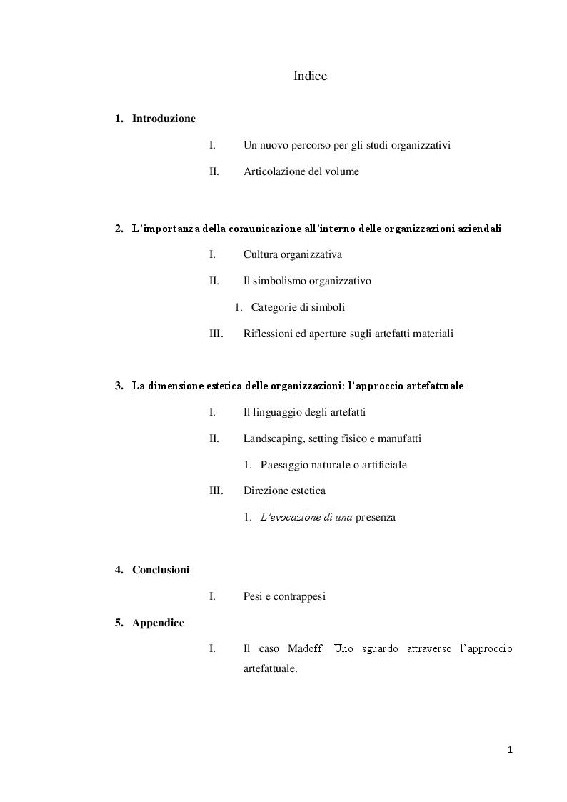 Indice della tesi: L'imperativo estetico nelle organizzazioni aziendali, l'imposizioni di cultura e valore attraverso artefatti e simboli, Pagina 1