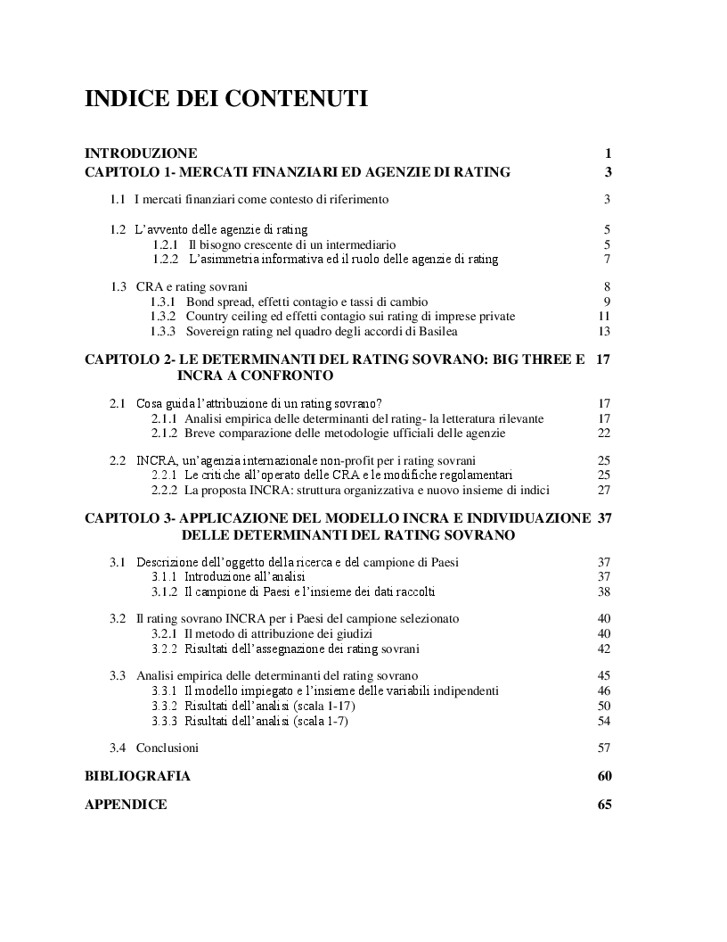 Indice della tesi: Il rating sovrano INCRA  e gli shadow rating, Pagina 1