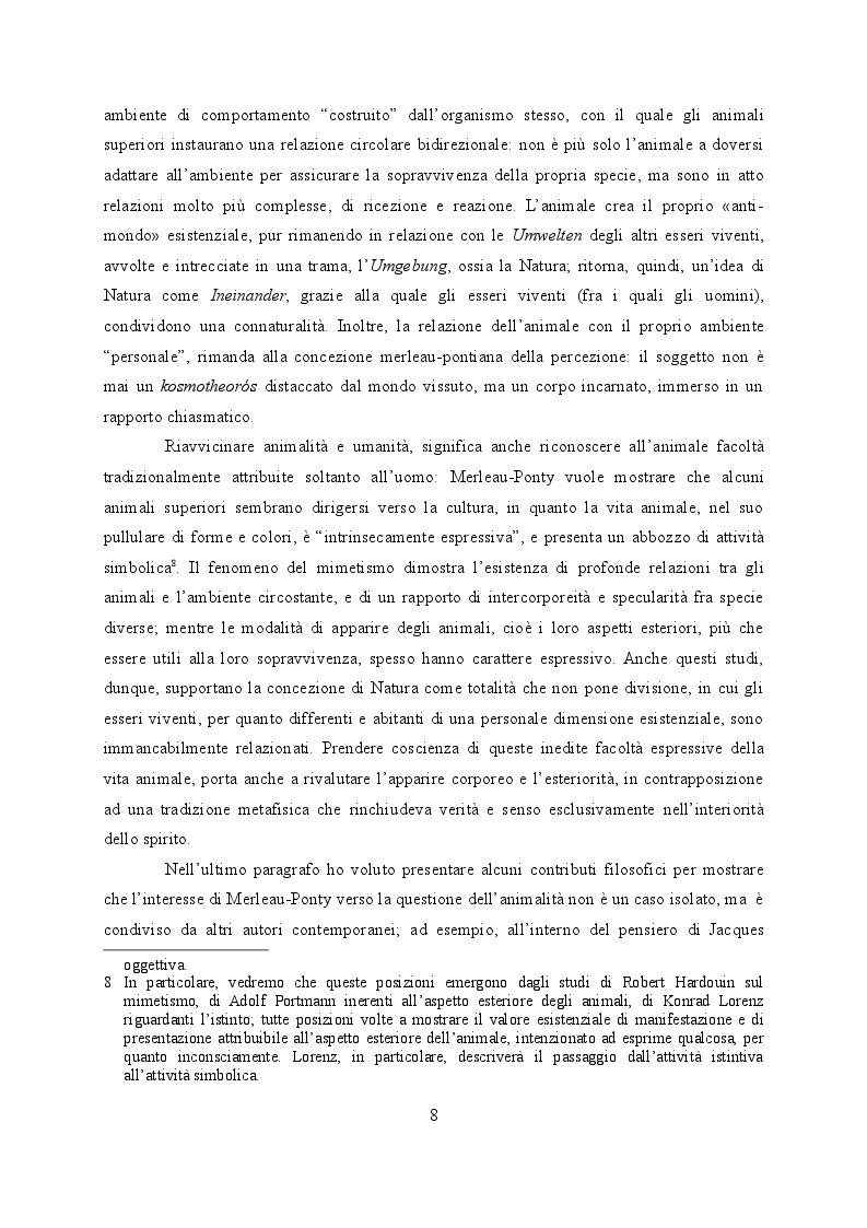 Estratto dalla tesi: La riscoperta della connaturalità. Natura, uomo e animalità nelle ''Lezioni al Collège de France 1956-1960'' di Maurice Merleau-Ponty