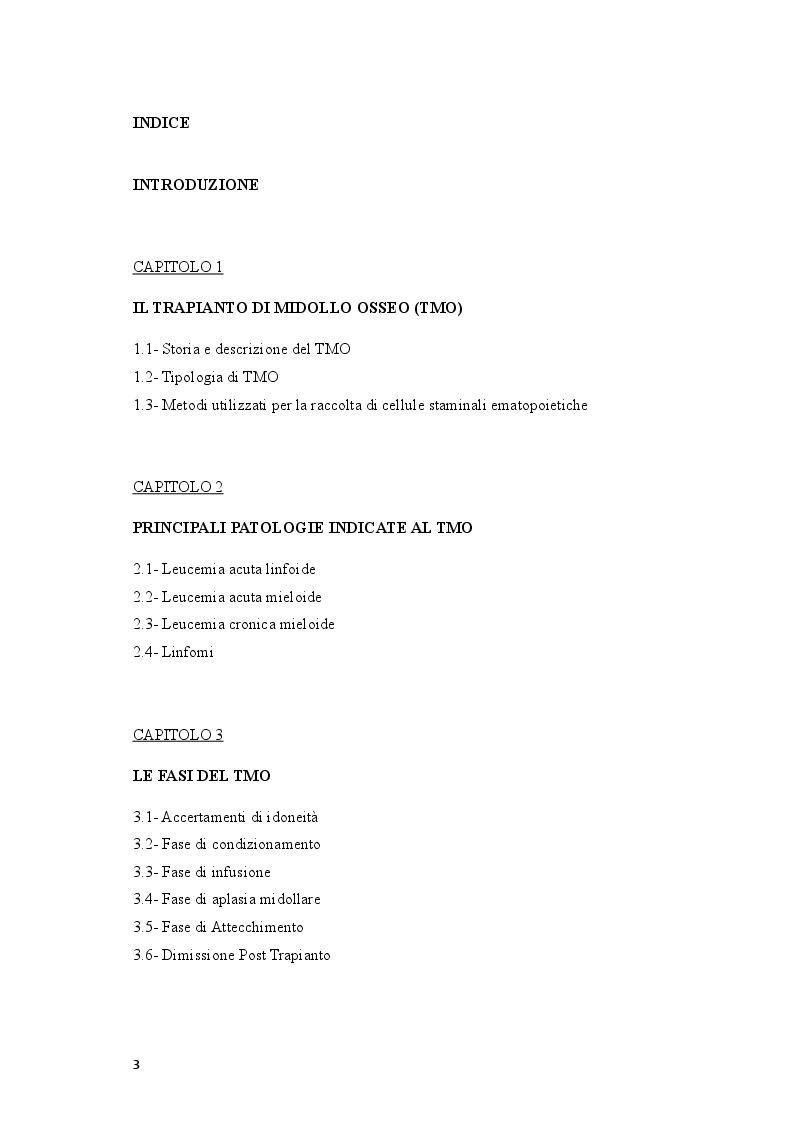 Indice della tesi: La gestione infermieristica del paziente pediatrico sottoposto a trapianto di cellule staminali ematopoietiche, Pagina 1
