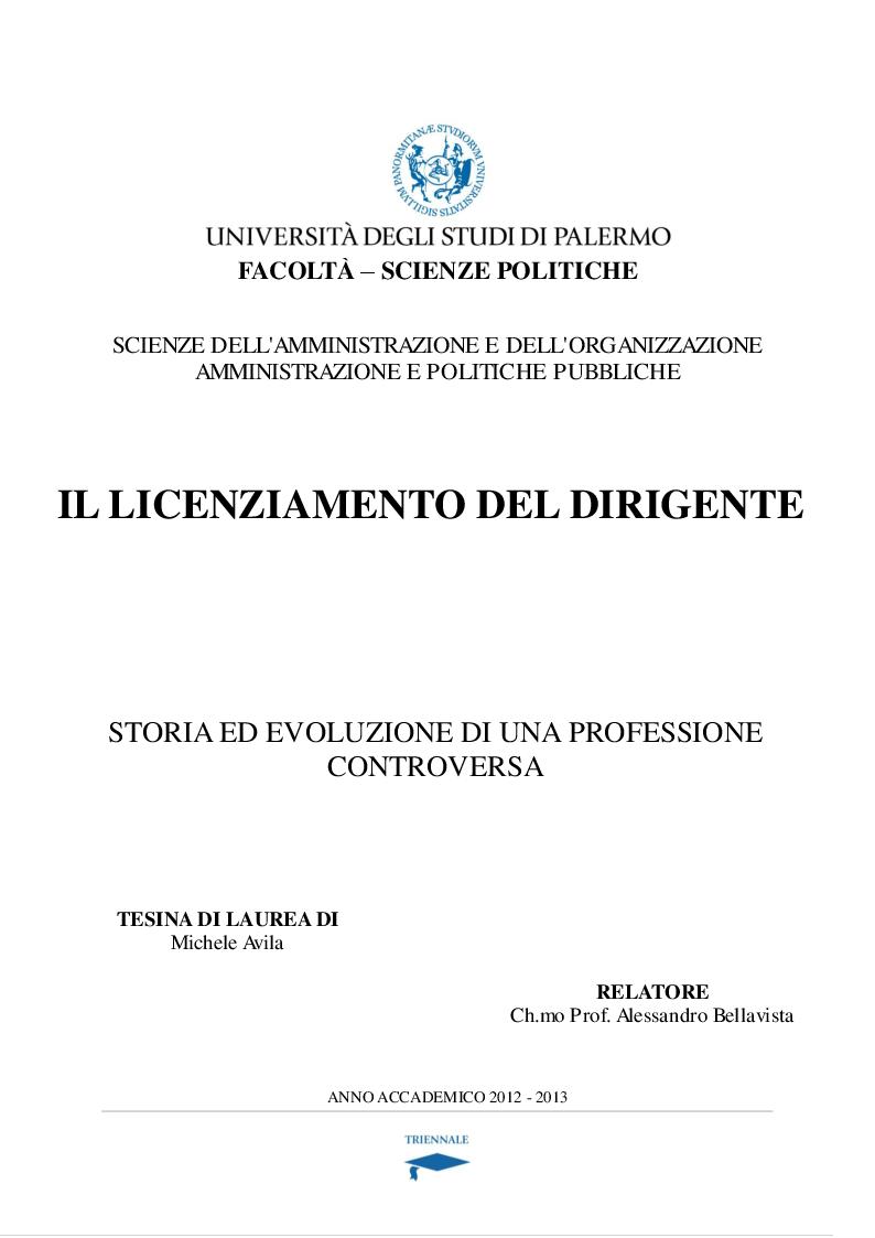Anteprima della tesi: Il licenziamento del dirigente (storia ed evoluzione di una professione controversa), Pagina 1