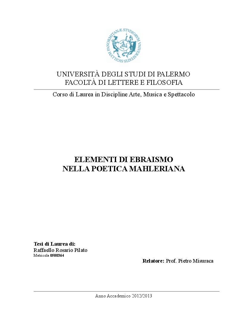 Anteprima della tesi: Elementi di Ebraismo nella poetica mahleriana, Pagina 1