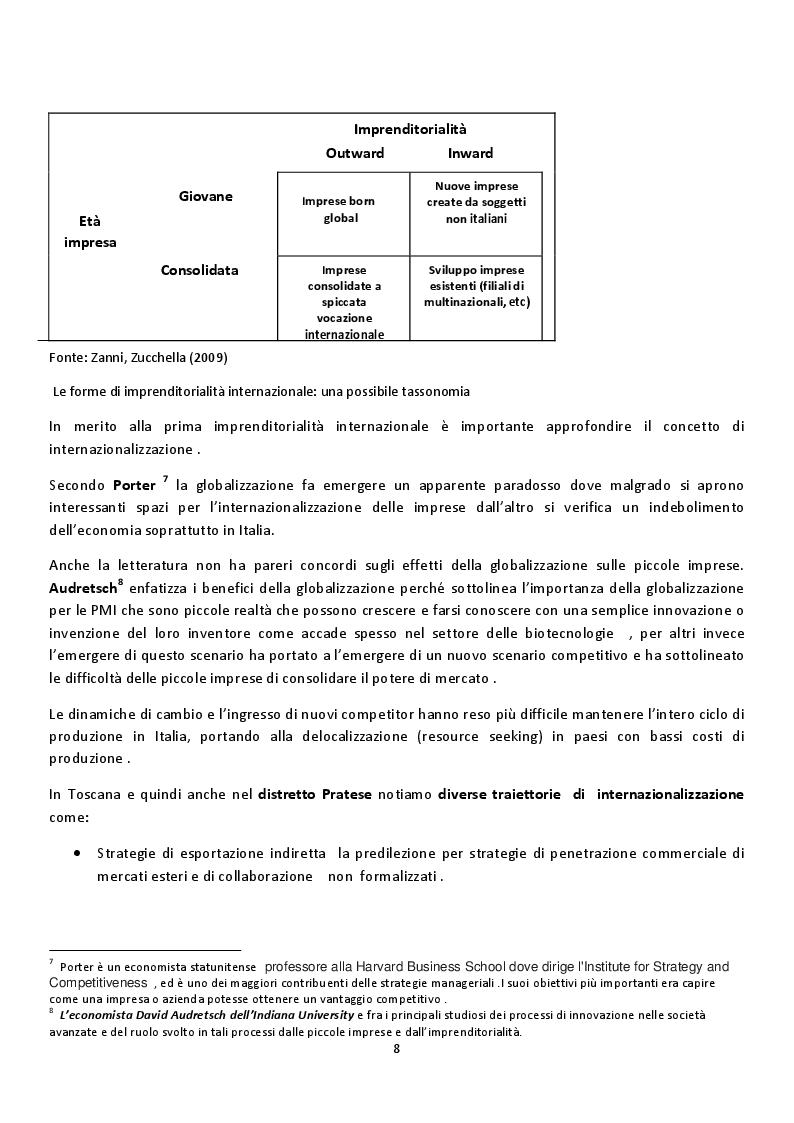 Estratto dalla tesi: Il distretto di Prato e la sua Internazionalizzazione