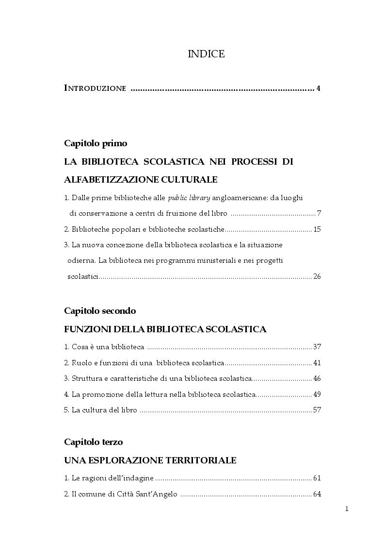 Indice della tesi: La biblioteca scolastica: promozione della lettura e cultura del libro, Pagina 1