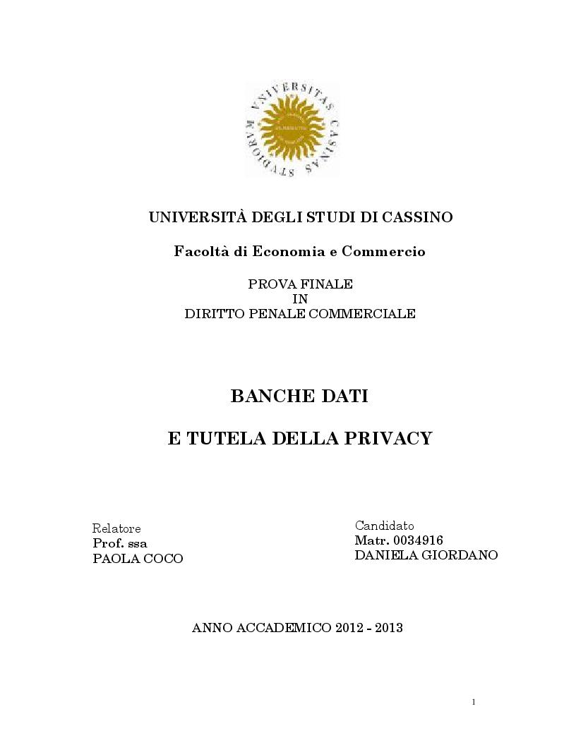Anteprima della tesi: Banche dati e tutela della privacy, Pagina 1
