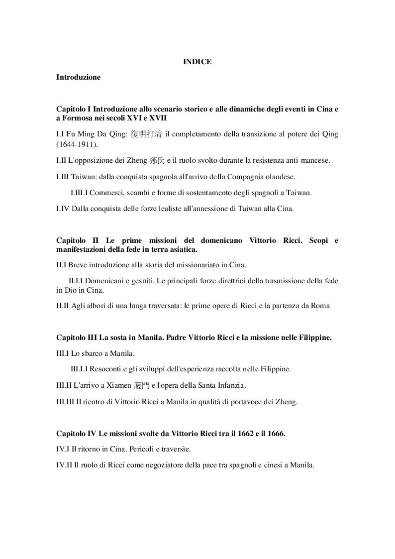Indice della tesi: Il domenicano Vittorio Ricci tra Cina, Formosa e Filippine (secolo XVII), Pagina 1
