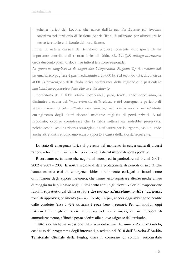 Anteprima della tesi: Valutazione del giudizio di qualità ed idoneità d'uso delle opere di captazione d'acqua sotterranea ad uso potabile nell'ambito dei pozzi dell'A.Q.P. della provincia di Taranto, Pagina 7