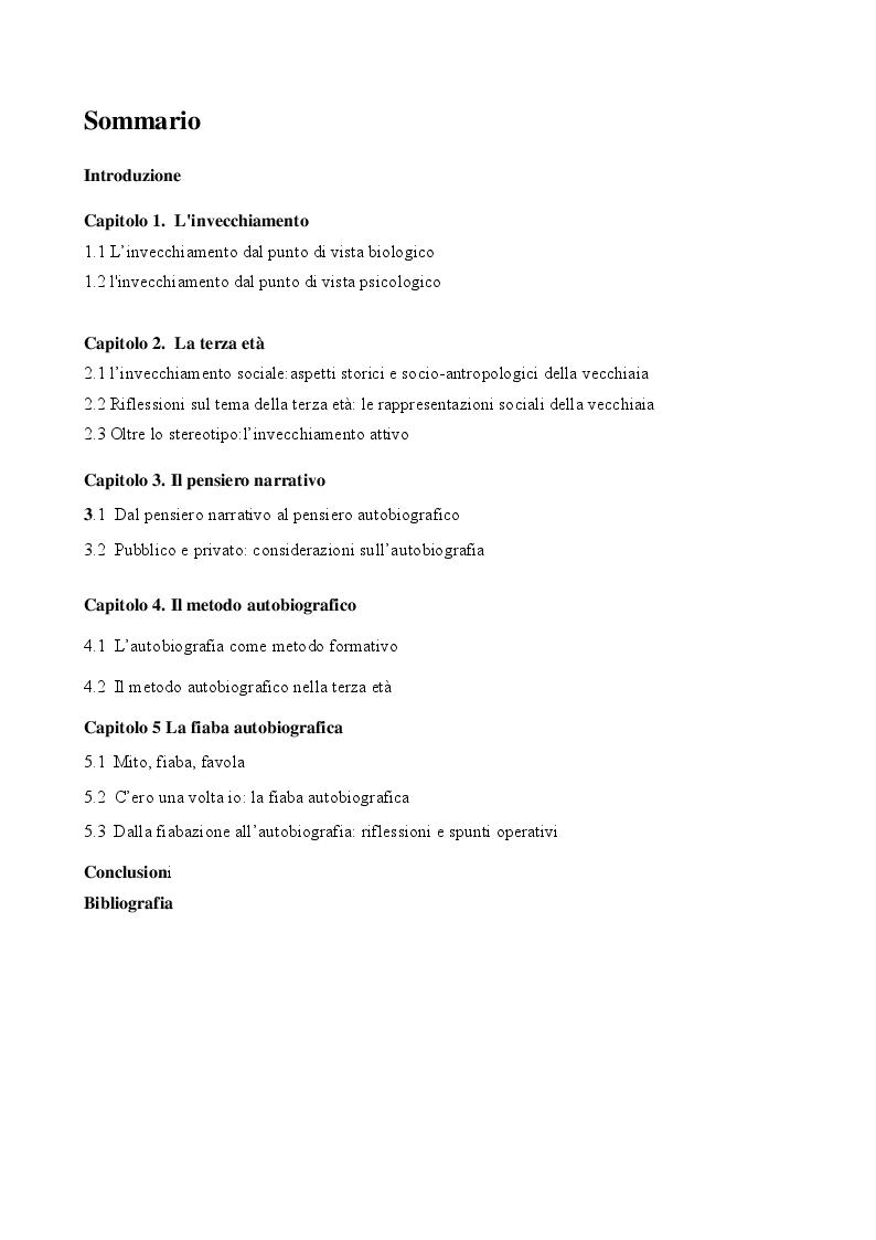 Indice della tesi: Invecchiare e raccontarsi, Pagina 1