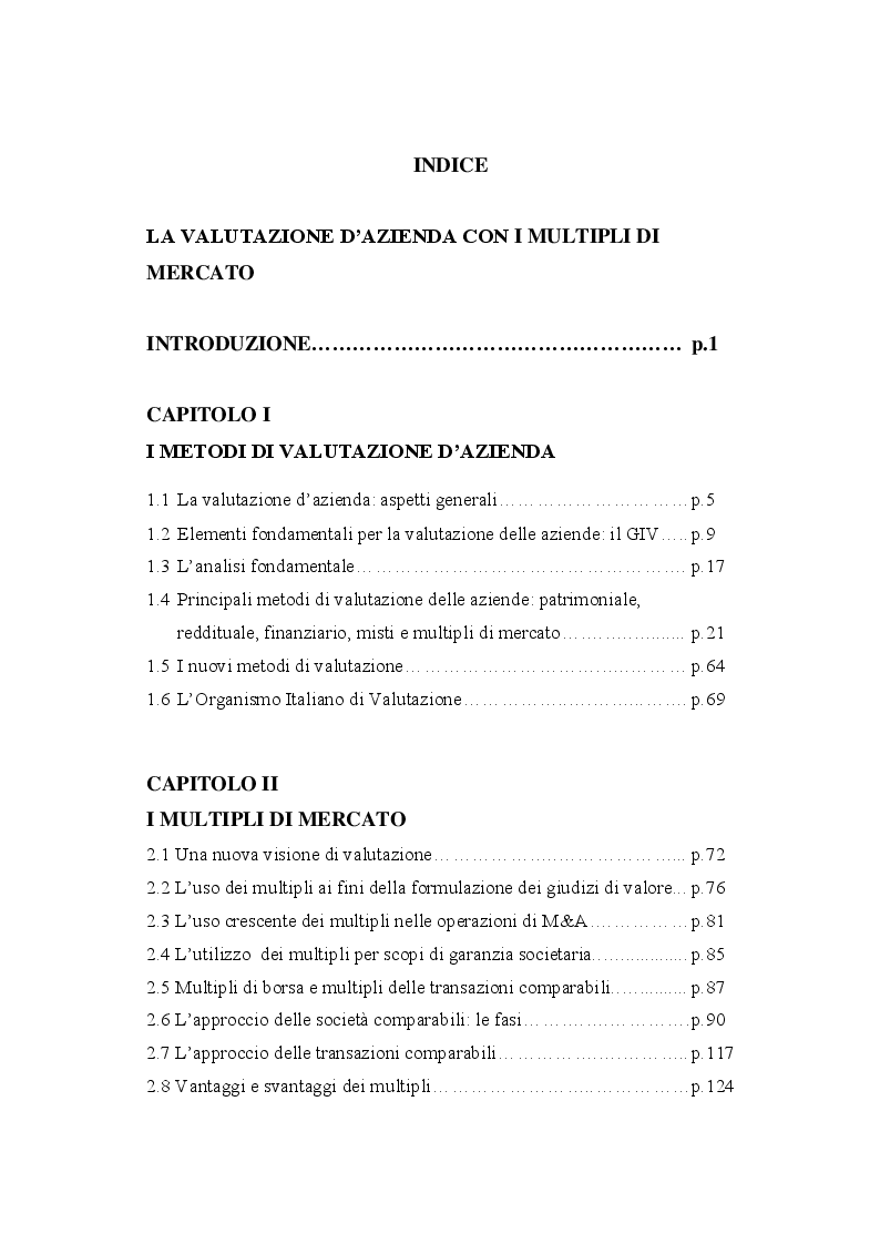 Indice della tesi: La valutazione d'azienda con i multipli di mercato, Pagina 1