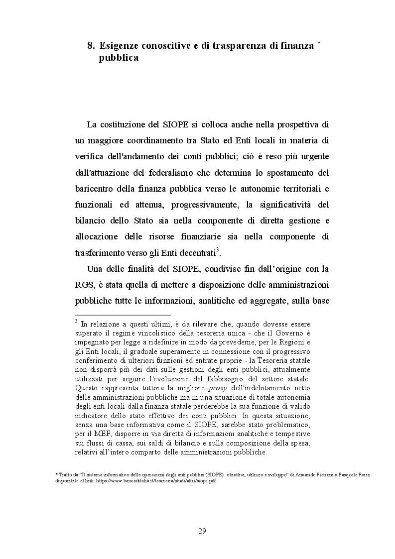 Estratto dalla tesi: Il SIOPE: strumento conoscitivo ed operativo della finanza pubblica