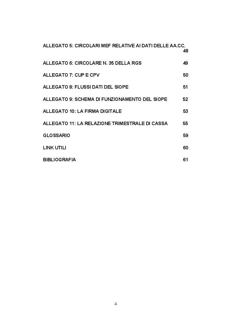 Indice della tesi: Il SIOPE: strumento conoscitivo ed operativo della finanza pubblica, Pagina 2
