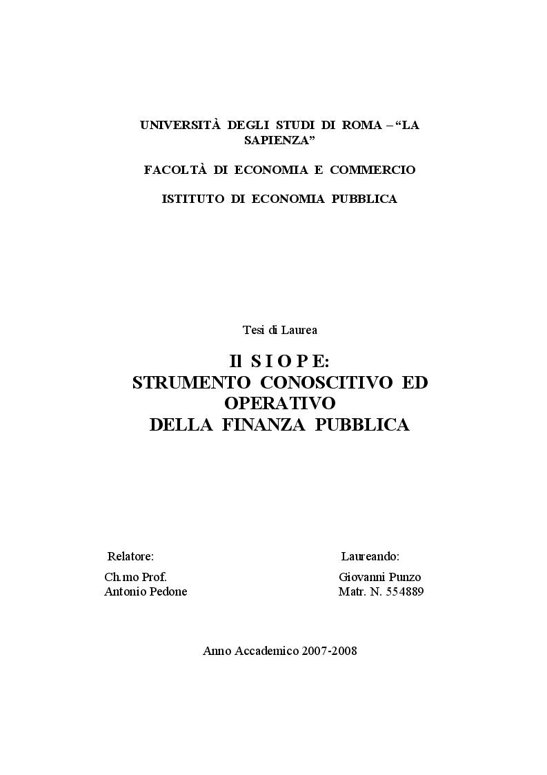 Anteprima della tesi: Il SIOPE: strumento conoscitivo ed operativo della finanza pubblica, Pagina 1