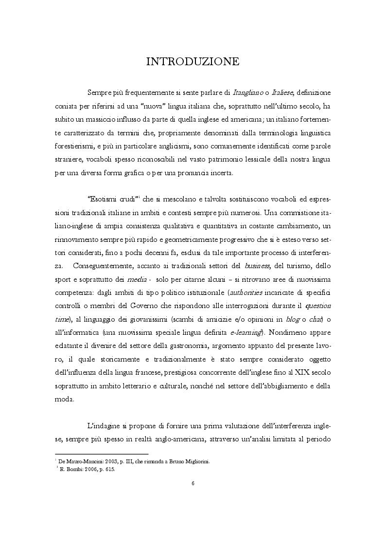 Gli anglicismi nel lessico italiano della gastronomia - Tesi di Laurea