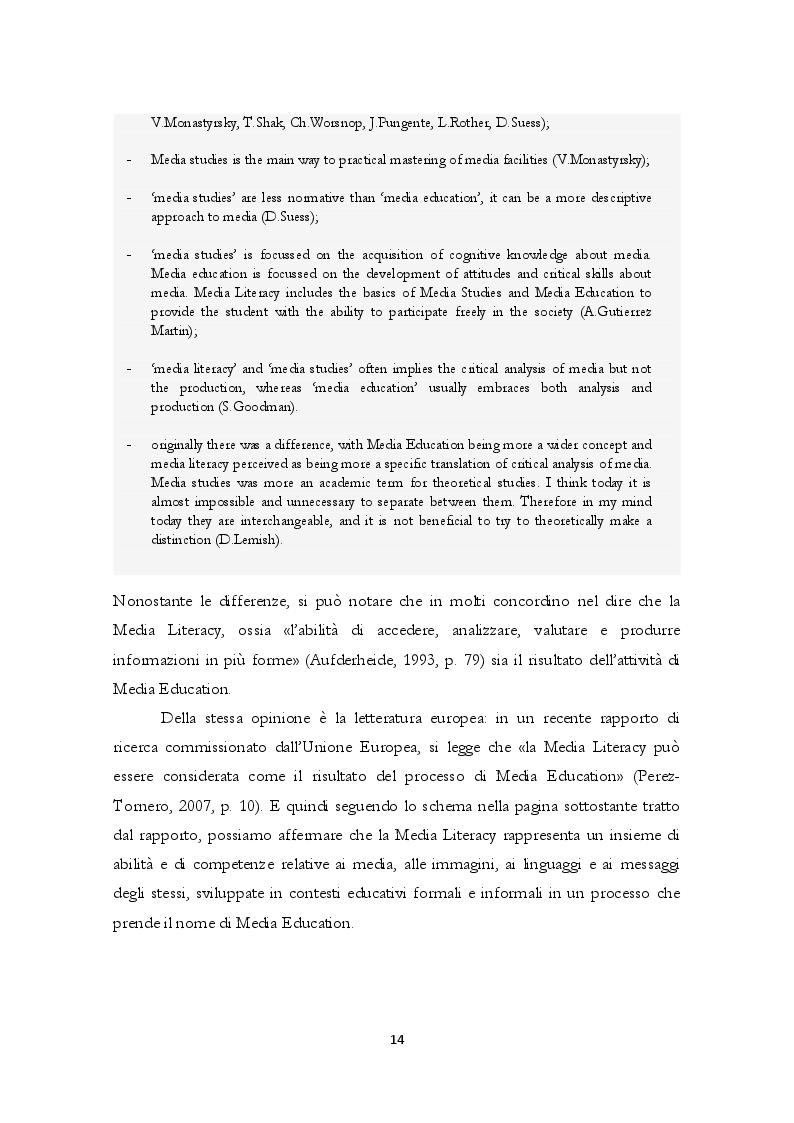 Estratto dalla tesi: La formazione in Media Education: analisi dell'offerta formativa degli atenei italiani