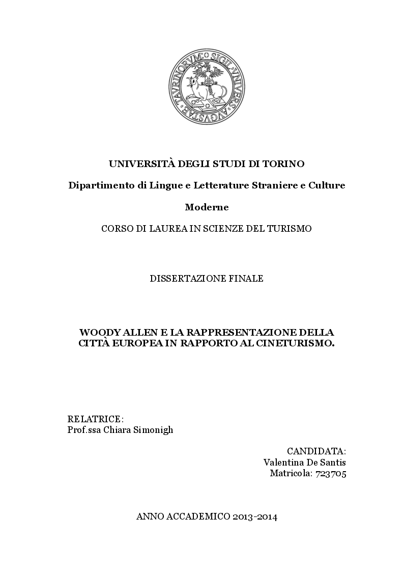Anteprima della tesi: Woody Allen e la rappresentazione della città europea in rapporto al cineturismo, Pagina 1
