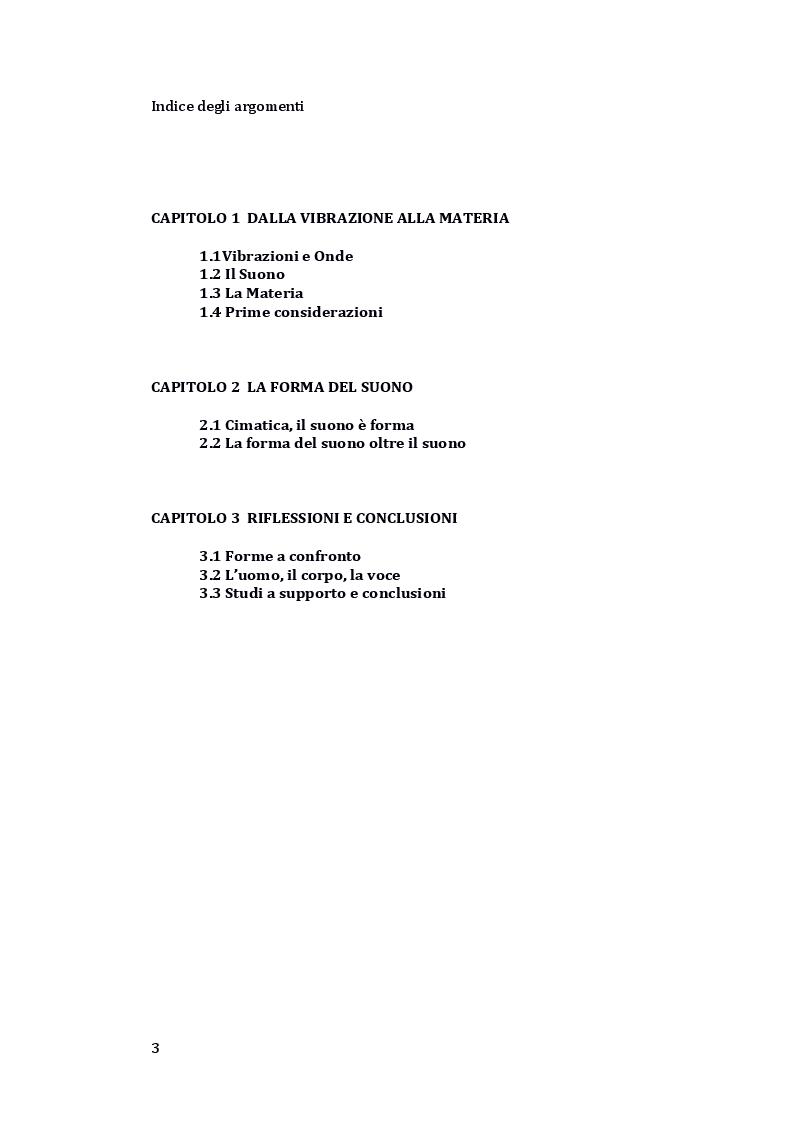 Indice della tesi: Psicologia della Vibrazione, dal suono alla trasformazione., Pagina 1