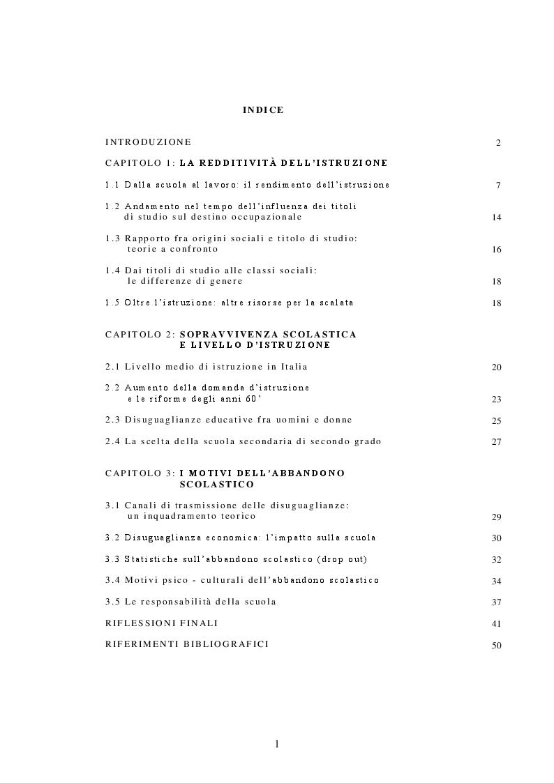Indice della tesi: Mobilità sociale, disuguaglianze e scuola, Pagina 1
