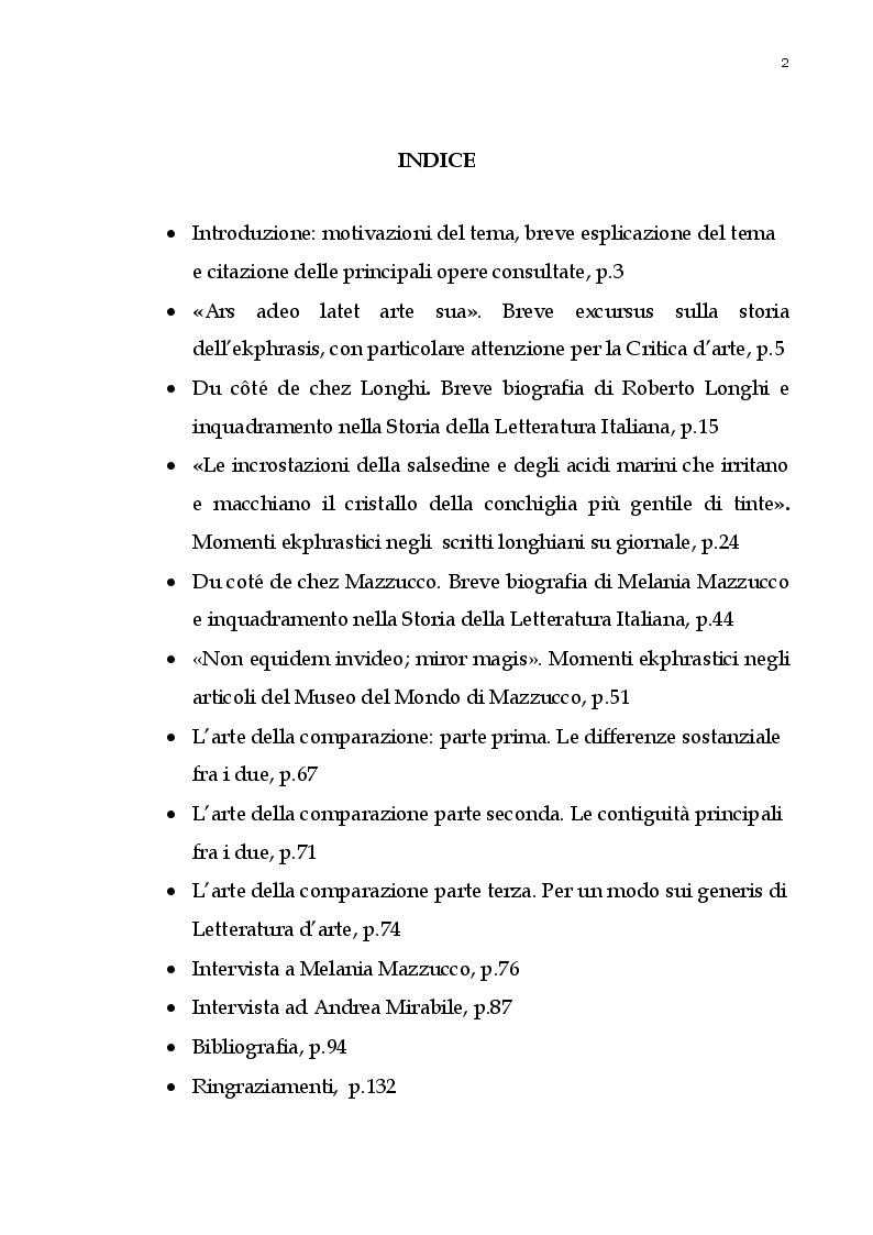 Indice della tesi: Momenti di ekphrasis nella critica giornalistica delle arti in Melania Mazzucco e Roberto Longhi, Pagina 1
