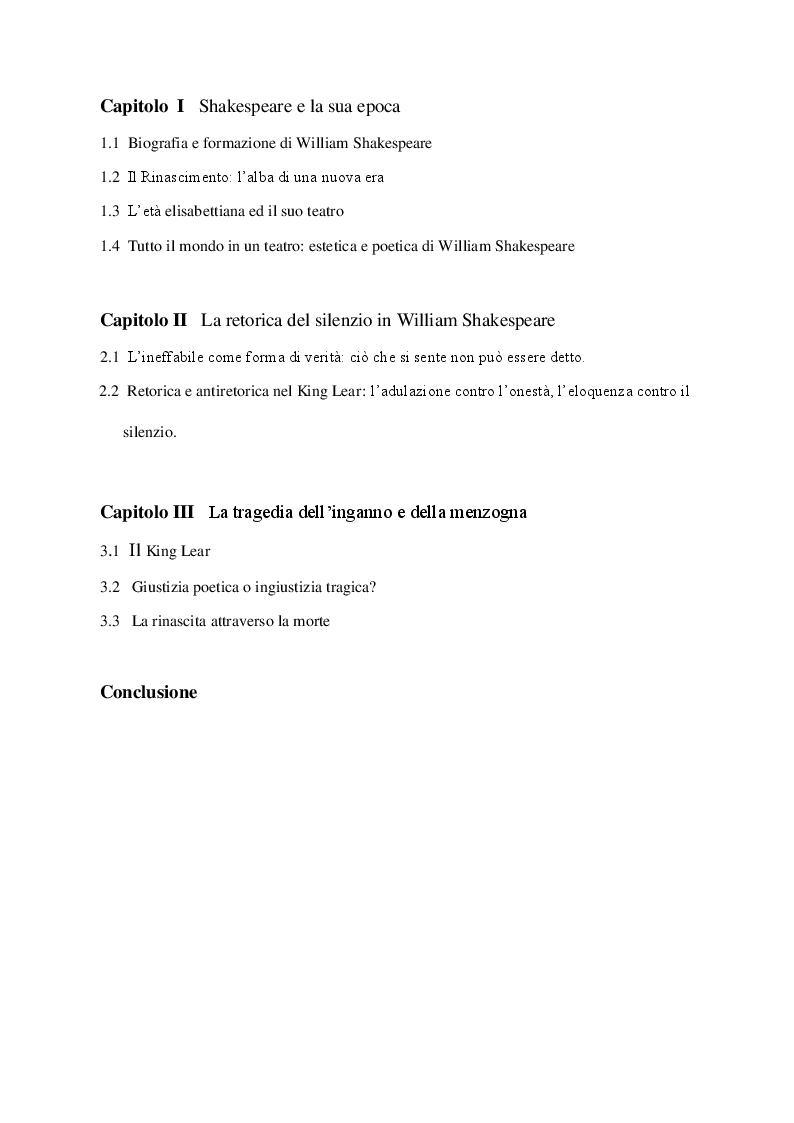 Indice della tesi: Love and Be Silent. La retorica del silenzio in Shakespeare e nel King Lear, Pagina 1