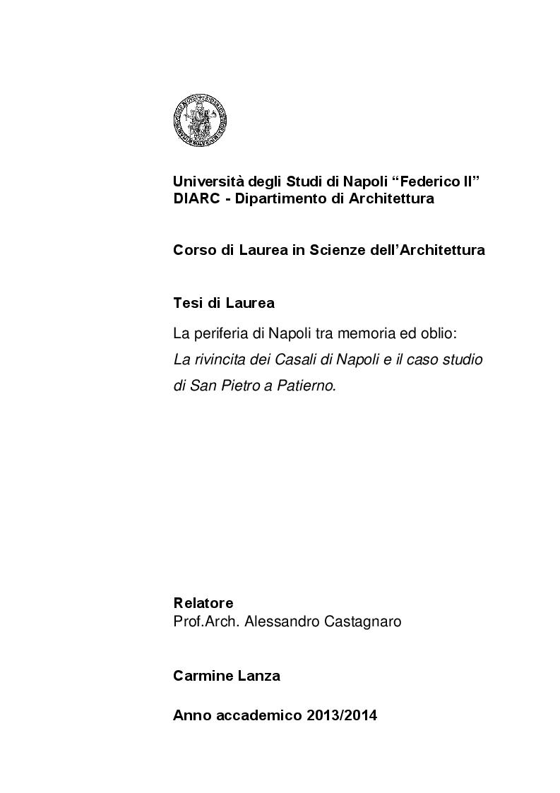 Anteprima della tesi: Le periferie di Napoli tra memoria ed oblio. La rivincita dei Casali e il caso studio di San Pietro a Patierno, Pagina 1