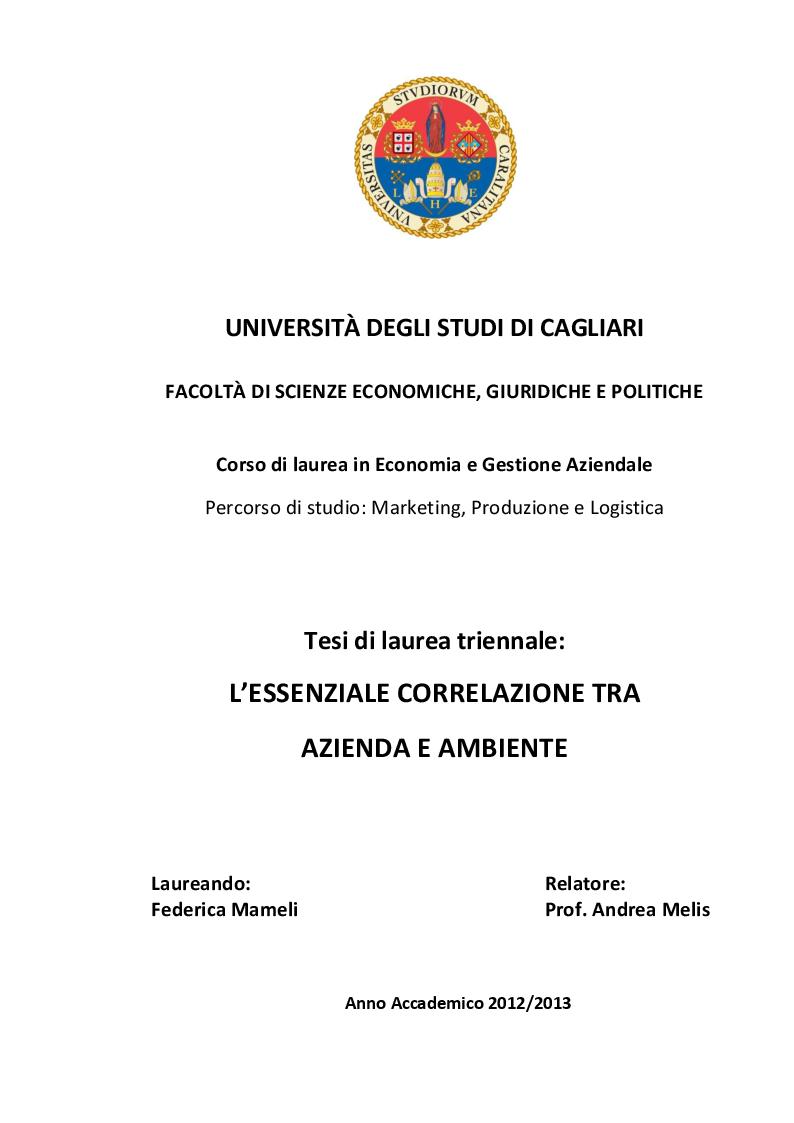 Anteprima della tesi: L'essenziale correlazione tra Azienda e Ambiente, Pagina 1