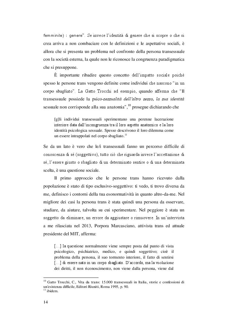 Estratto dalla tesi: Il Movimento Trans in Italia