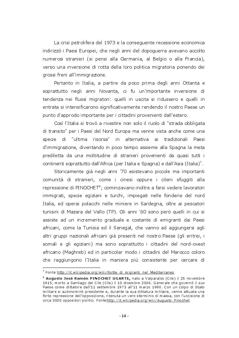 Estratto dalla tesi: La gestione dell'Immigrazione: Evoluzione ed organizzazione dell'Ufficio Immigrazione nella Questura di Treviso