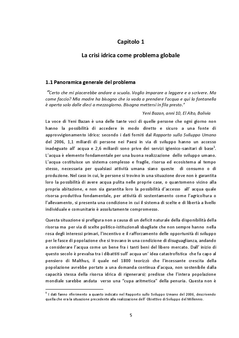 Estratto dalla tesi: La crisi idrica dal contesto internazionale al caso boliviano. Cochabamba tra la Guerra dell'Acqua e il progetto di cooperazione ''Yaku al sur''