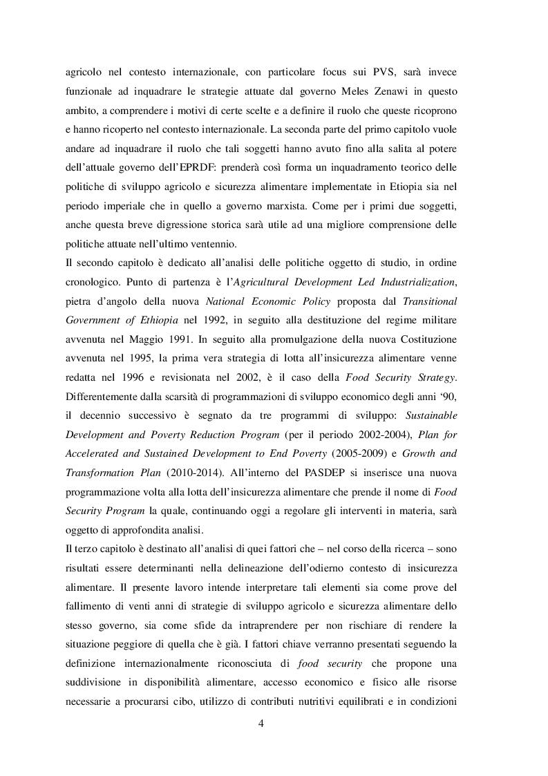 Estratto dalla tesi: Politiche agricole e sicurezza alimentare in Etiopia. I casi dei distretti di Shashamane e Alaba